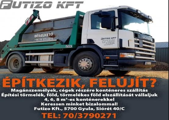 Konténeres hulladékszállítás 4-6-8 m3 Gyulán és környékén