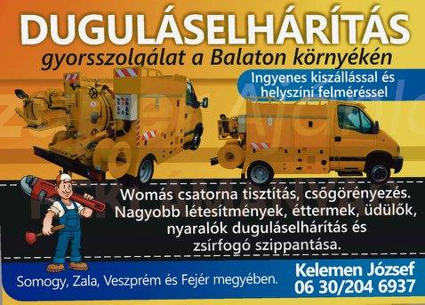 Duguláselhárítás Balaton, Duguláselhárítás Balaton környéke